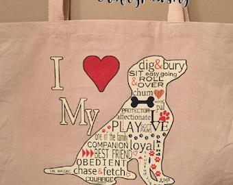 I love my Dog Tote Bag, Dog lover bag ,Natural Tote Bag, Messenger bag
