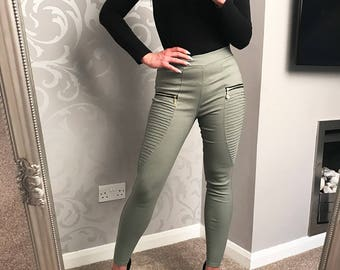Ladies Trousers Jeans S/M Light Green & Beige L/XL Party Casual