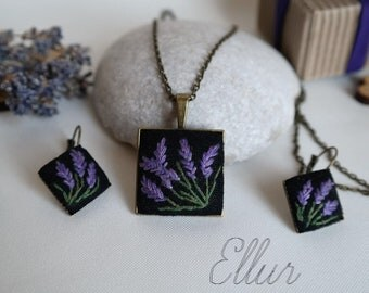 Embroidered lavender jewelry set Purple jewelry set Embroidery pendant earring Square pendant necklace Special needs mom Lavender wife gift