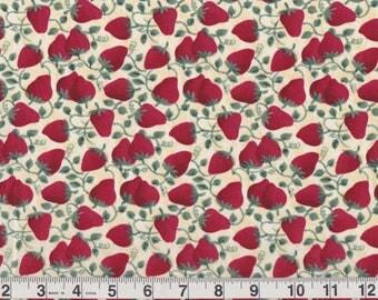 """Mumms The Word Debbie Mumm for SSI   red strawberries vines   Fat Quarter 18"""" x 22"""" pre-cut"""