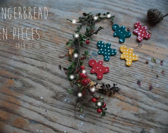 Christmas GingerBread Man Assortment Clay Pieces (10x Pack)