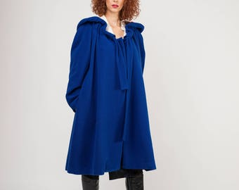 Cape Style Coat, Raglan Sleeves, Oversized Hood, Tie neck, Printed lining