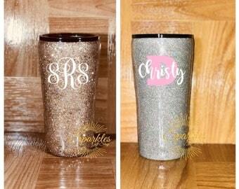 Glitter Cup-  One Color Custom Glitter Tumbler - Gold, Rainbow Gold or Silver Glitter Dipped Tumbler - YETI, Ozark Trail, RTIC TUMBLER