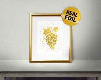 vintage Grape, Real Gold Foil Print, Kitchen Decor, Fruits Decor, Grape Leaves, Kitchen Wall Decor, Golden Grape, Framed Wall Decor
