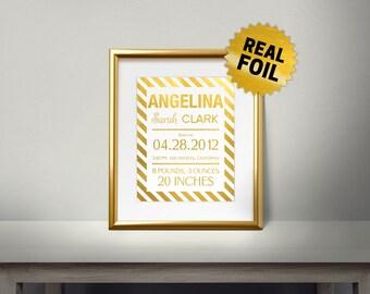 Foil Birth Announcement, Wall Art, Real Gold Foil Print, Customized Birth Announcement, Nursery Wall Art, baby kids Room Decor, Wall Decor