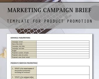 Product promotional etsy for Marketing campaign brief template