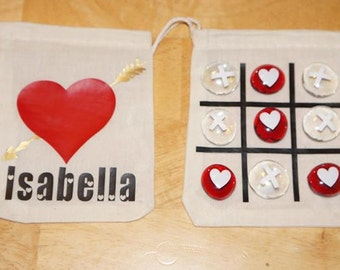Valentines day tic tac toe bag, Tic tac toe on the go , Valentines day gift.