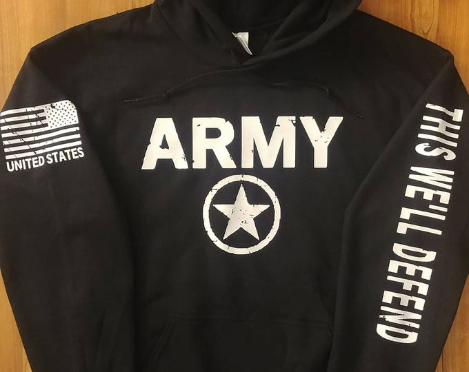 Army - Distressed Hoodie with Invasion Star