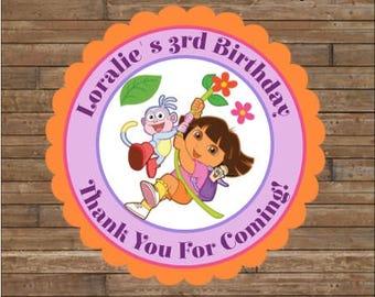 Personalized Dora the Explorer Stickers - Dora Favor Tags - Dora the Explorer Birthday - Dora Party