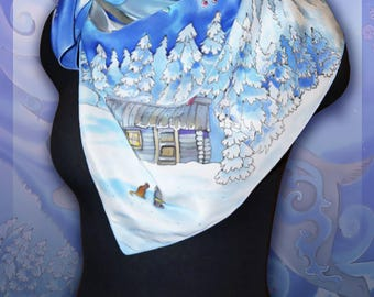Silk scarf shawl  Silver Hoof, For women, Handmade , Colourful Handpainted scarf, Silk Wrap, Rare Unique Gift
