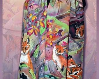 Silk Shawl Rufous autumn stole, Handmade silk scarf, Colorful scarf, Silk scarve for women, Big carf, Hand-painted scarf, Girlfriend Gift