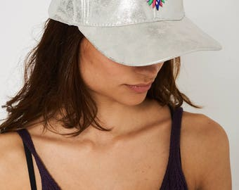 Silver Hat With Rhinestone Diamante Detail