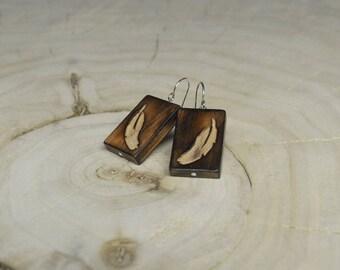 Boucles d'oreilles Rectangle Bois Récupéré et Argent - Plume