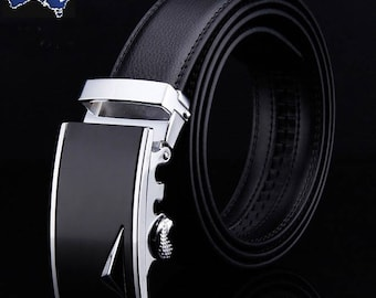 Genuine Leather Automatic Lock Silver Black Leaf Buckle Fashion Dress Belt