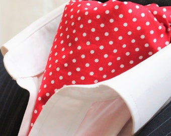 Cravat Ascot UK Made Bright RED /White Polka Dot. Cravat & Hanky.Premium Cotton.