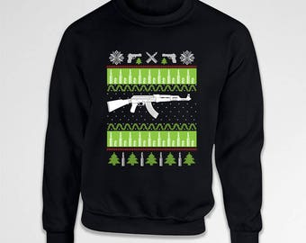 Ugly Christmas Sweater Funny Holiday Gifts Xmas Gifts For Gun Lovers Winter Pullover Dad Gift Ideas Gun Enthusiast Crewneck Hoodie  TEP-549