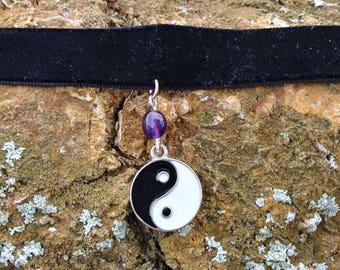 Yin Yang Amethyst black velvet choker
