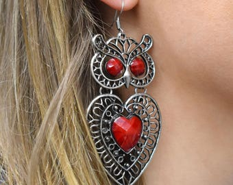 Silver Owl Earrings, Big Statement Earrings, Big Owl Earrings, Owl Stone Earrings, Valentines Day Gift Owl Lover Jewellery, Heart Earrings