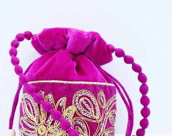 Velvet Wristlet, Pink Gold Silver Bag, Ethnic Pink Wallet, Embroidered Purse, Money Wallet, Wristlet Purse, Ethnic Purse, Velvet Handbag