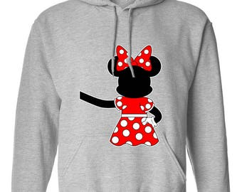 Minnie Mouse Hugging Extended Hand Design Clothing Adult Unisex Hoodie Hooded Sweatshirt Best Seller Designed Hoodies for Women