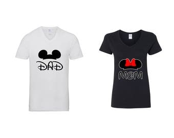 Valentine Gifts Disney Mom Dad Minnie Mickey Ears COUPLE Printed Adult V Neck Shirts Unisex  VNeck T-Shirts for Men Women Matching Clothes