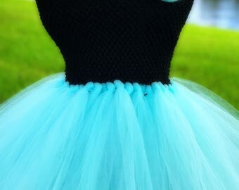 Black & Aqua Flower Girl Tutu Dress