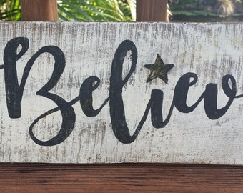 Believe-with bling-Pallet inspirational rustic sign star gold glitter bling