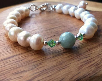 Green Jadeite and Pearl Bracelet, Swarovski Crystal, Silver-Plated with Extender Chain