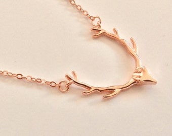 Deer Antler Necklace Rose Gold // Antler Necklace // Rose Gold Necklace