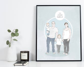 Custom Family Portrait, Personalised Art, Drawing Commission, Family, Anniversary Gift, Wedding Gift, Grandma Gift, Housewarming Gift