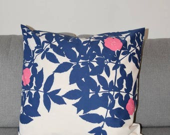 "Handmade Marimekko Ruusupuu white blue pillow case, cushion cover Size 20"" 50cm, Design Finland"