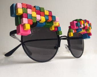 Pixel Sunglasses - Cube Wooden Sunglasses - Embellished Sunglasses - Pixel Art - Rainbow Sunglasses - Rainbow eyewear - Wooden Eyewear