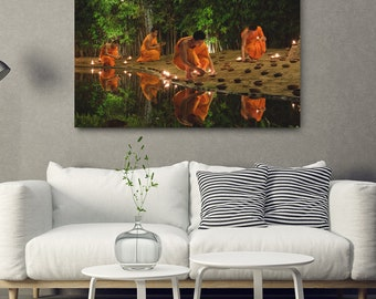 Buddhist Art Canvas Print // Large Canvas Wrap, Asia Decor, Thailand Monks Wall Art, Buddhism Photography, Fine Art Photo, Asian Home Decor