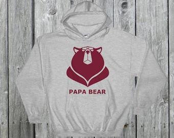Mens Papa bear shirt Hooded Sweatshirt grumpy angry bear hoodie sweater daddy Poppa Bear, gift for dad, birthday gift dad, fathers day gift
