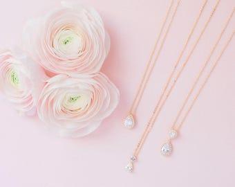 Sophia Cubic Zironia Necklace - Gold, Gold CZ Necklace, Bridal Necklace, Wedding Necklace, Crystal Gold Necklace, Dainty Teardrop Necklace