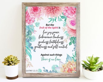 Spirit Fruit, Fruit Of The Spirit, Fruits Of The Spirit, Galatians 5 22, Love Joy Peace, Wall Art, Printable, Wall Decor, Home Decor