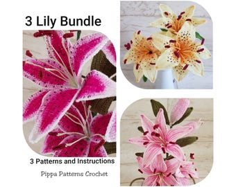Crochet StargazerLily Pattern PinkTiger Lily Yellow Tiger Lily Flower Pattern  Flower Plant  Decoration Home  Handmade Garden Arrangements