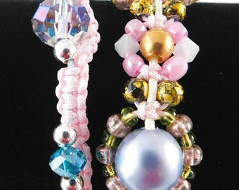 Macrame bracelets in pink with crystal glass beads