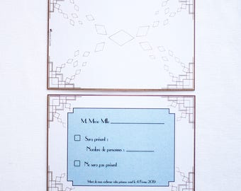 Art deco A6 wedding response card
