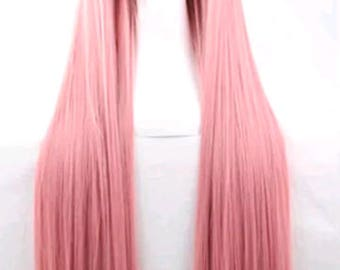 Customizable - PINK -  long straight Wig w/ bangs - scene emo cosplay anime punk lolita mermaid hair styles real Wig - fast shipping