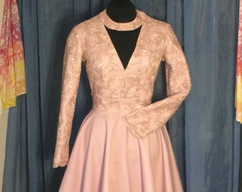 Pink Lace Dress with Open back