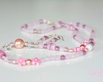 Necklace and Earring Set, Pink, 60cm [S1PI6000022]