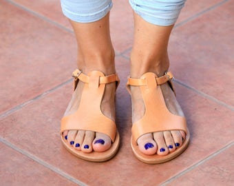 Leather Sandals, Gladiator Sandals, Greek Sandals, gift for her, women sandals, boho sandals, Natural Leather, Flat Shoes, Strappy Sandals