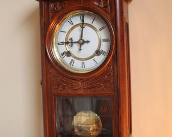 Pendulum Wall Clock, nice ghift, Old Pendulum, Vintage Clock, Collection Object, Walnut Clock, Mid Century, Ornaments Carved In Wood