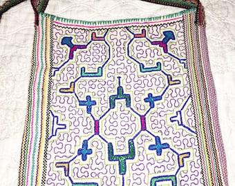 Handmade Shipibo Embroidered Mandala Peruvian Tribal Handbag