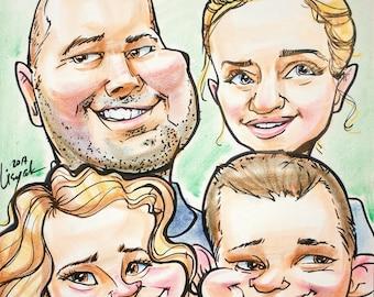 Color caricature for 4 person