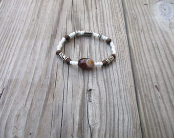 Dark brown , white glass & silver accents, beaded bracelet,stretch