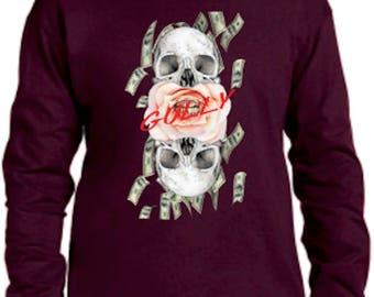 Skull Shirt, Money Shirt, Gully Shirt, GIft for him, Longsleeve Shirt, Falling money, Money, Cool design, DTG, Printed Shirt, Awesome,