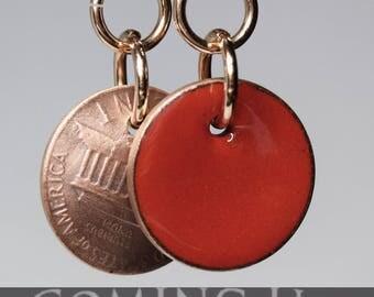 enameled penny earrings, red earrings, lucky penny earrings