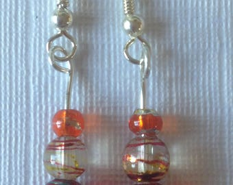 Handmade Orange Red Multi-coloured Glass Bead Dangle Drop Earrings